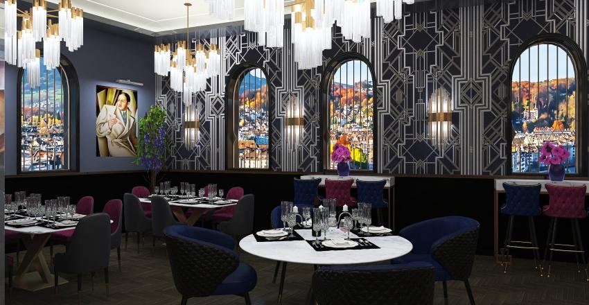 #HSDA2020Commercial - Le Fanfaron - New Art Deco Restaurant Interior Design Render
