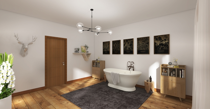 Wood Themed Bungalow Interior Design Render