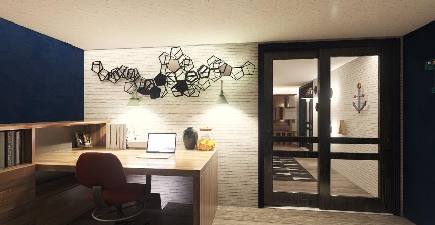 casa de 1 pareja y 2 niños con haría de estudios Interior Design Render