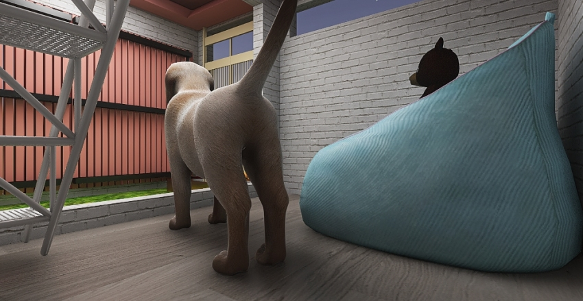 2-Floor Dog House Interior Design Render
