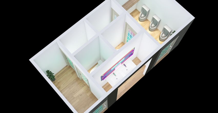 Banos Club deportivo Interior Design Render