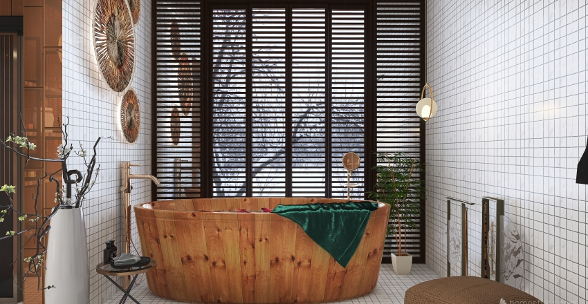 Hot tub in winter Interior Design Render