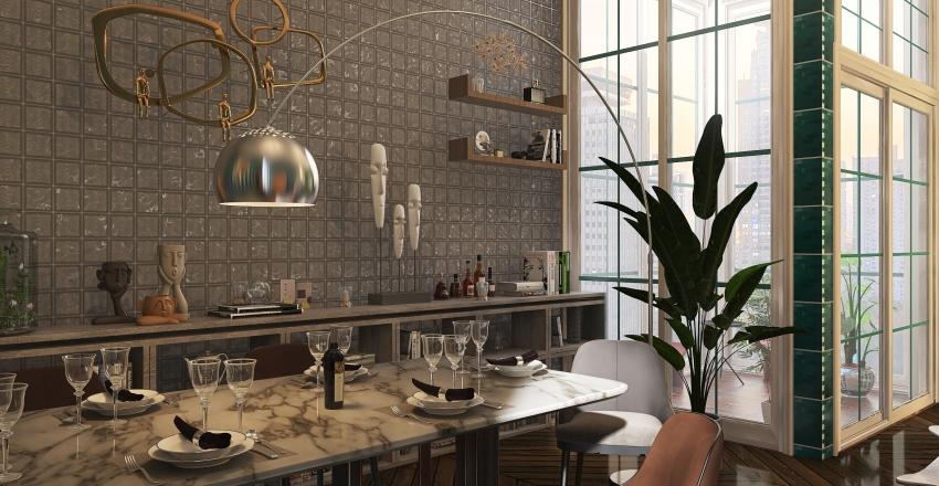 Dining room/bar with smoking area Interior Design Render