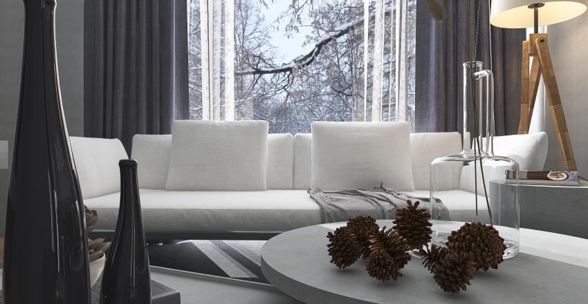 Modern Cabin in the forest Interior Design Render