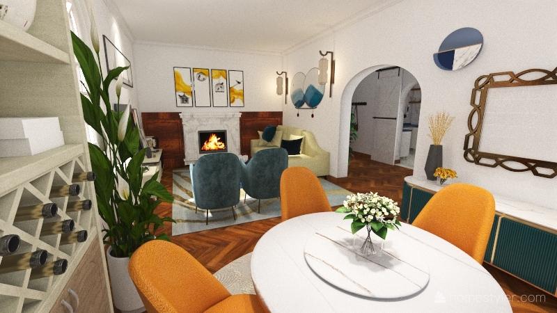 Retrò style Interior Design Render