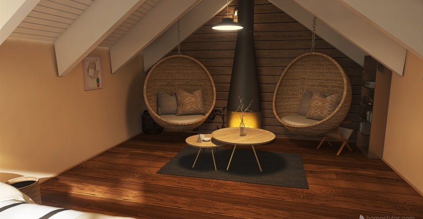 Attic - bedroom Interior Design Render
