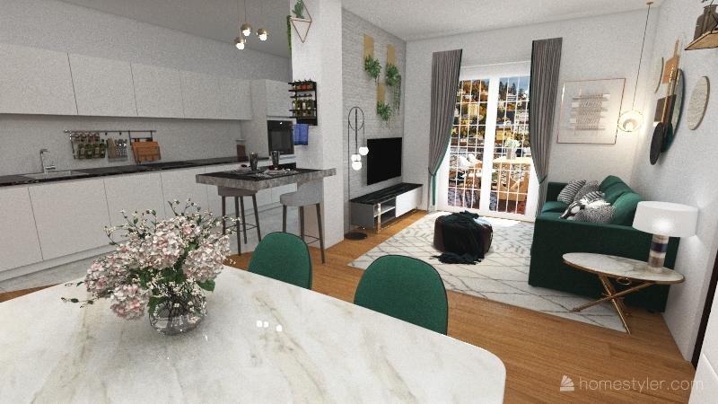 Luxurious apartment green Interior Design Render
