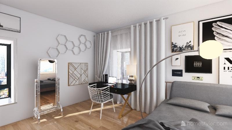 Minimalist dorm room Interior Design Render