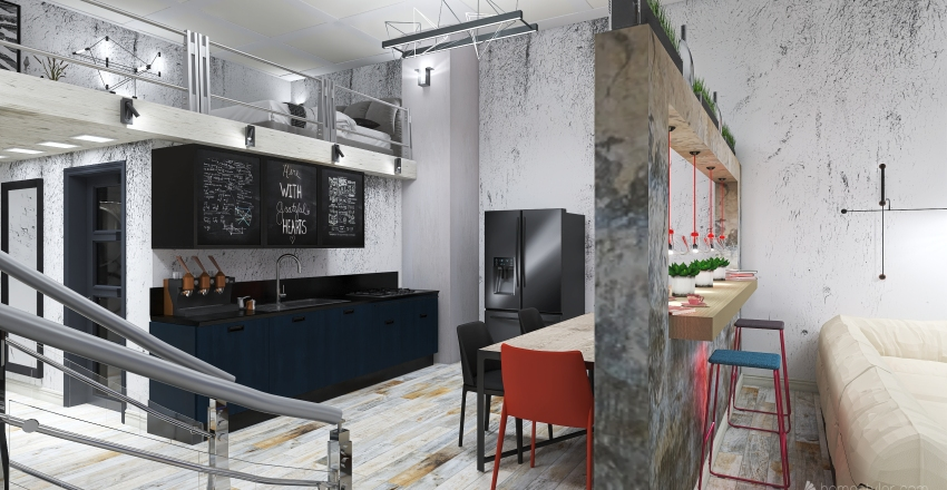 #HSDA2020Residential #Loft  city-apartment 90m2 Interior Design Render