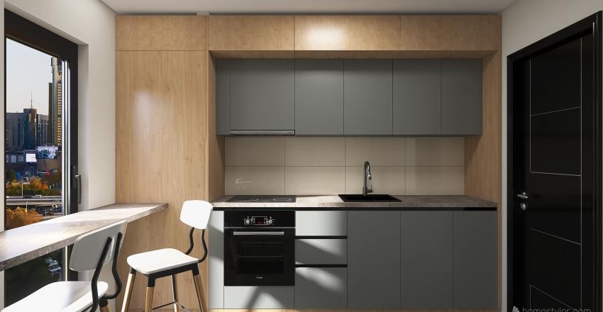 Modern Kitchen | Wood & Grey Interior Design Render