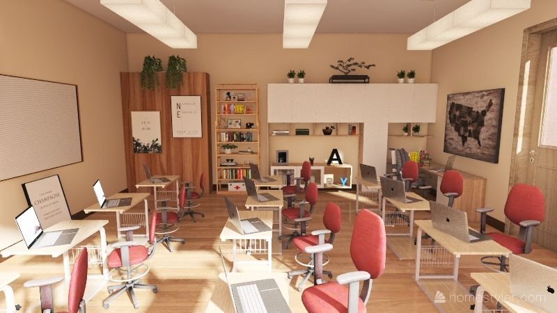 computer class room Interior Design Render