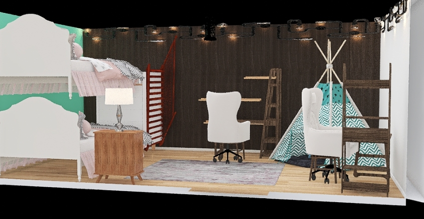 shared kids bedroom Interior Design Render