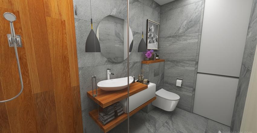 Small bathroom concrete and wood Interior Design Render