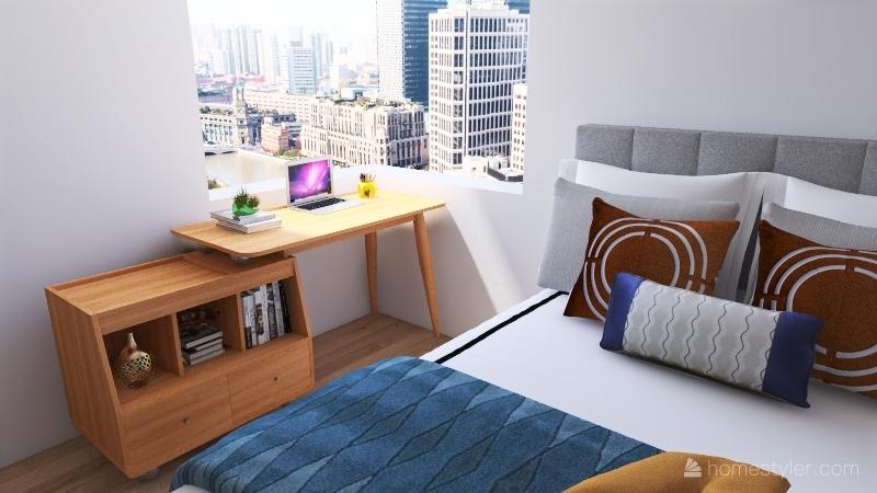 Modern Simple One Bedroom Apartment. Interior Design Render