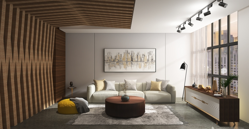 wooden room  Interior Design Render