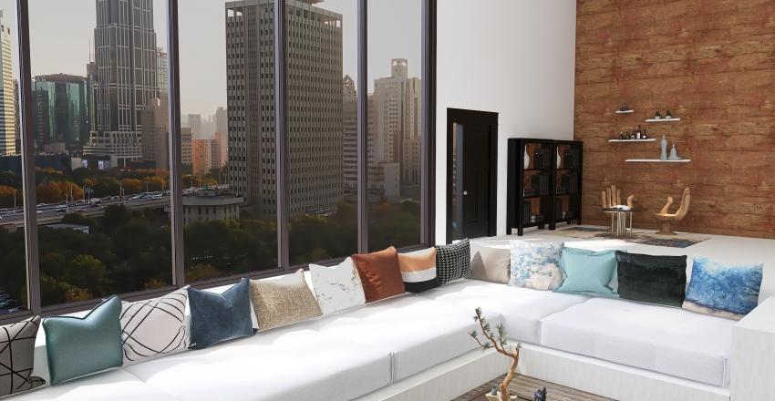 Wabi Sabi style lounge in NY Interior Design Render