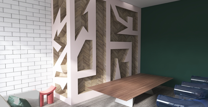 Keep It Simple; Studio Abstract Design With New Trend Interior Design Render