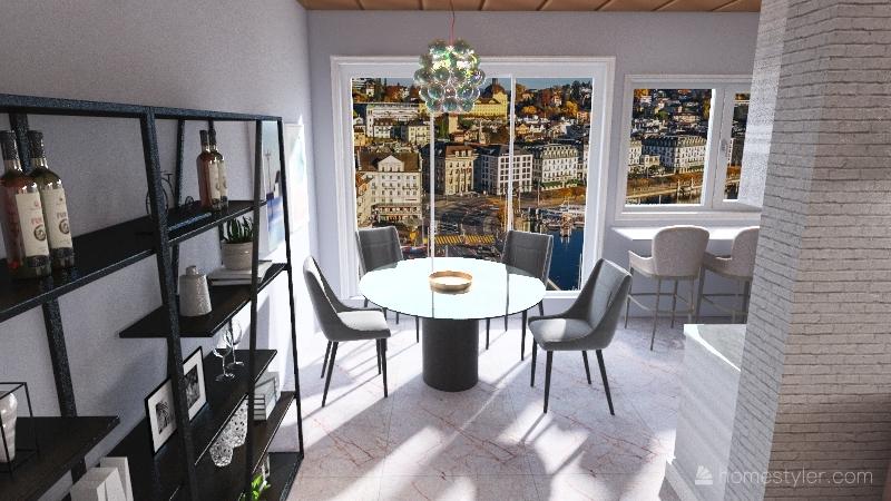 One bed apartment. Interior Design Render