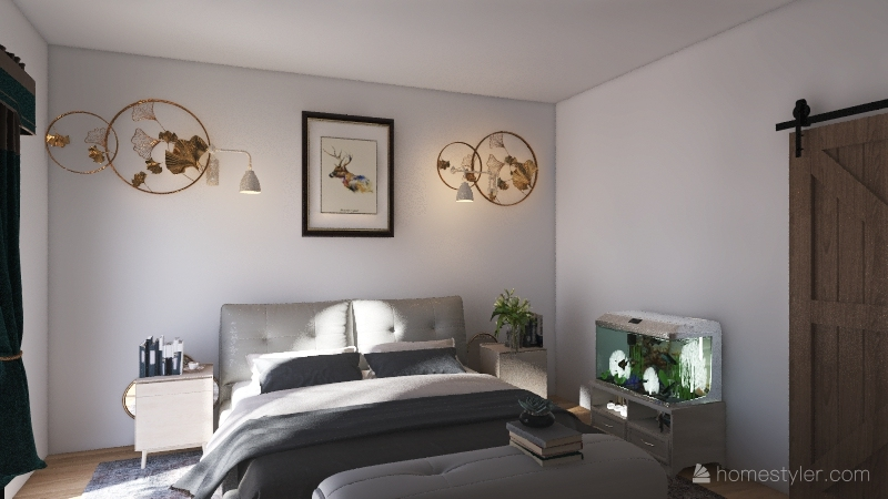 Studio Apartment Bedroom Balance Interior Design Render