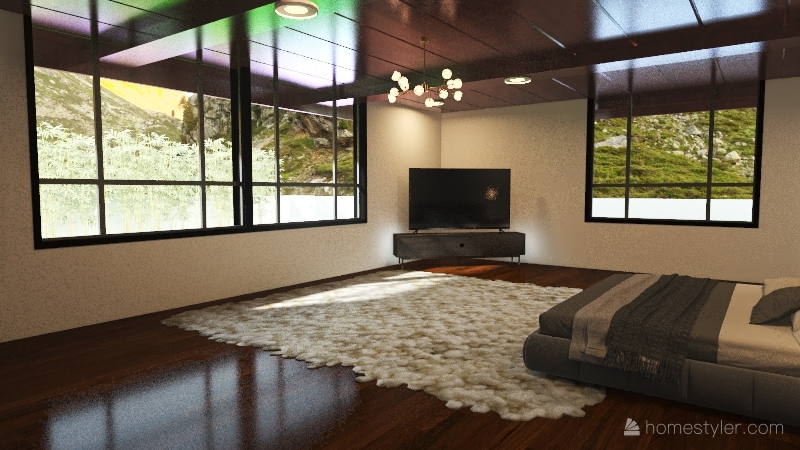 Small Mountain House Interior Design Render