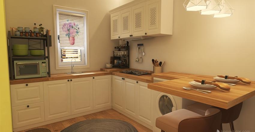 Student's apartment Interior Design Render