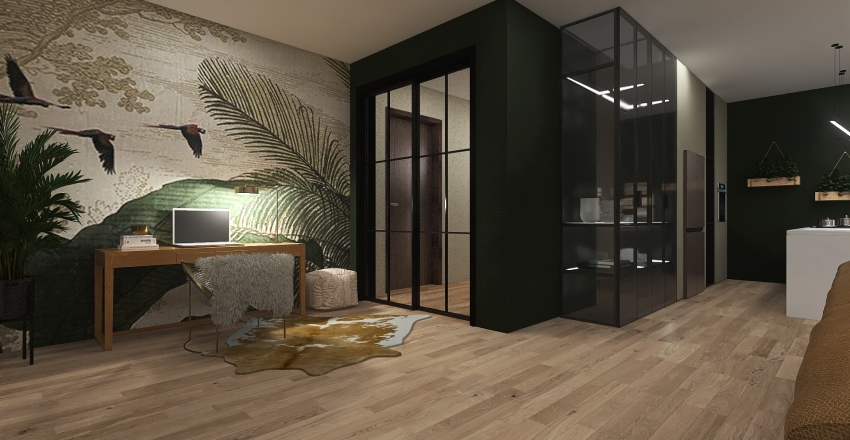 LOFT WITH GREEN DETAILS Interior Design Render