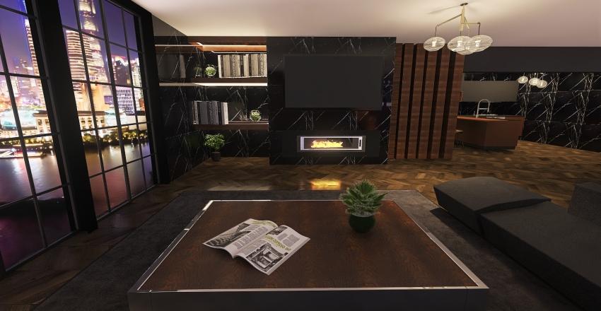 black apartment Interior Design Render