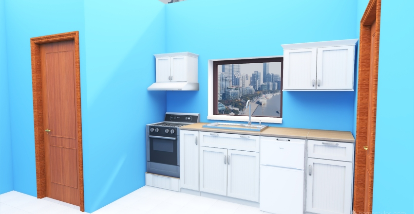 Kitchen 1st try without stove Interior Design Render