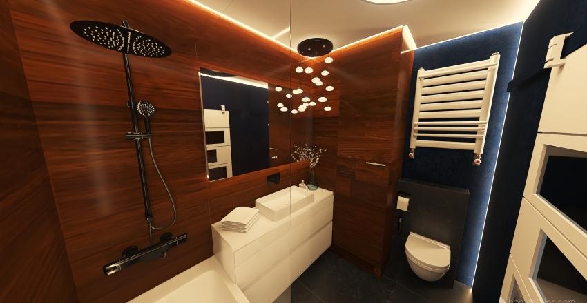 Wood & stone bathroom Interior Design Render