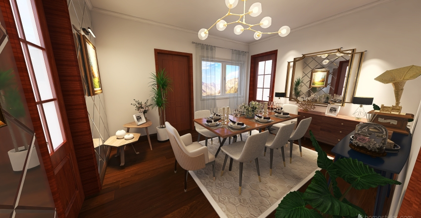 Manar Bouanane  Project Entry way and dinnig room Interior Design Render