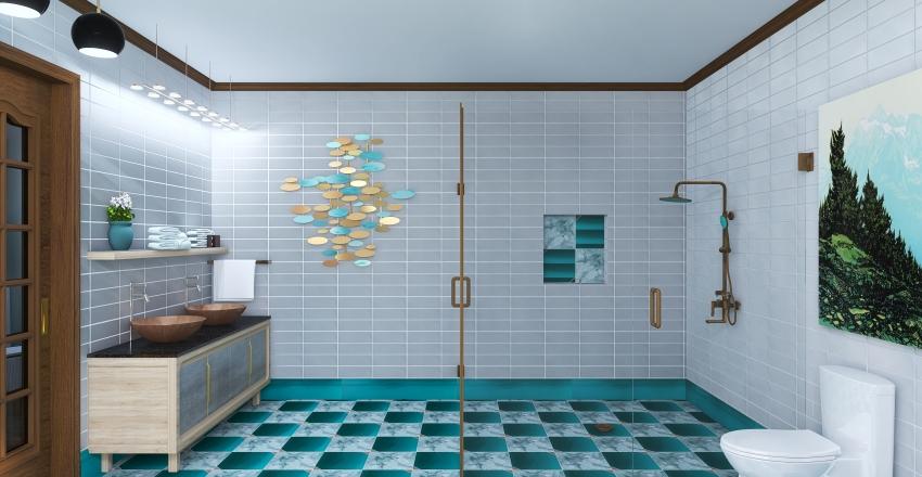 Coral & Teal Interior Design Render
