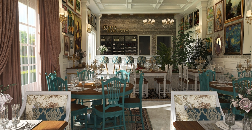 #HSDA2020Commercial-Centre d'Artistes, French-Bohemian Rest Interior Design Render