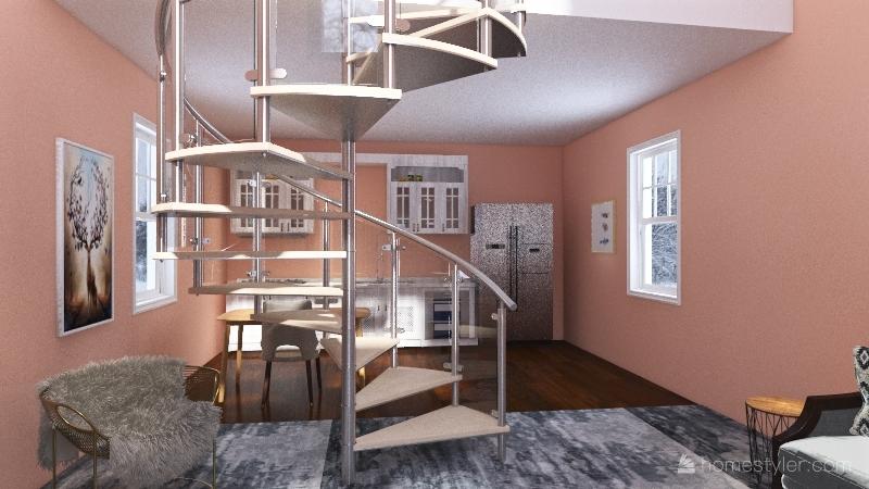 Small home with loft Interior Design Render