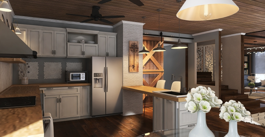 Industrial Farmhouse (Downstairs) Interior Design Render