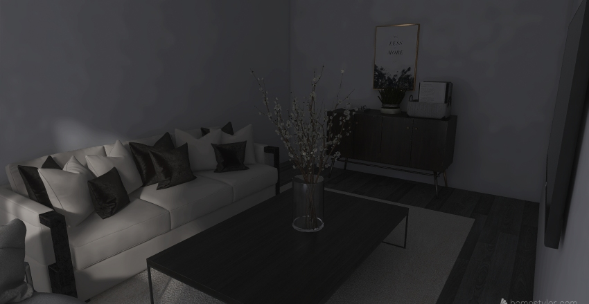 Gloomy Beige Livingroom Interior Design Render