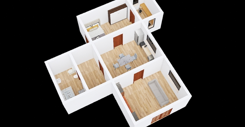 UA due persone Interior Design Render