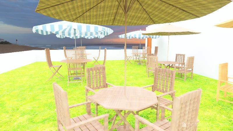 restaurant on beach Interior Design Render