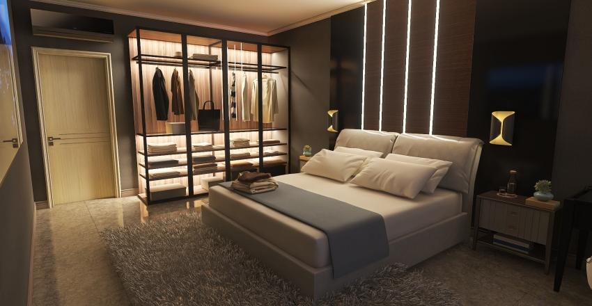 Interior Design of a bedroom in modern style Interior Design Render