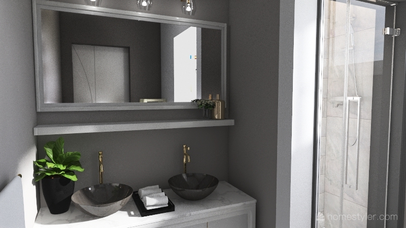 Neutrals & Golds Interior Design Render