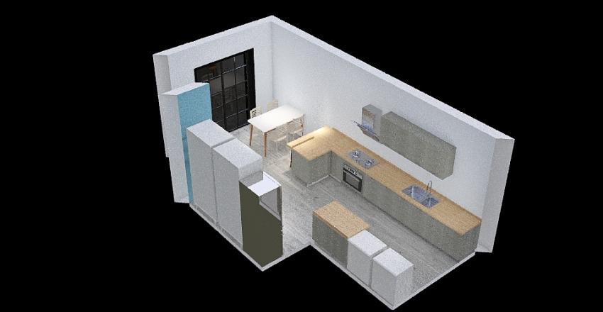 Cocina península cerca de mesa Interior Design Render
