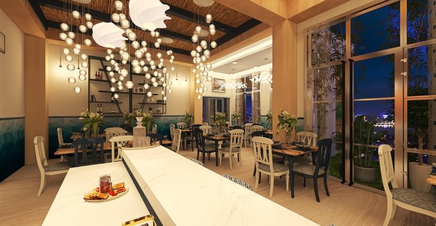 Fishermen's Delight (70 + 20 Sqm Restaurant Design) Interior Design Render