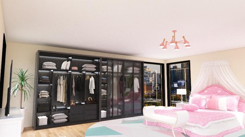 Princess Bedroom and Bath Interior Design Render
