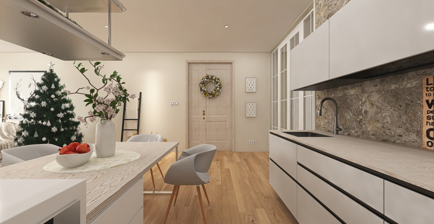 Small apartment with Christmas details. Interior Design Render