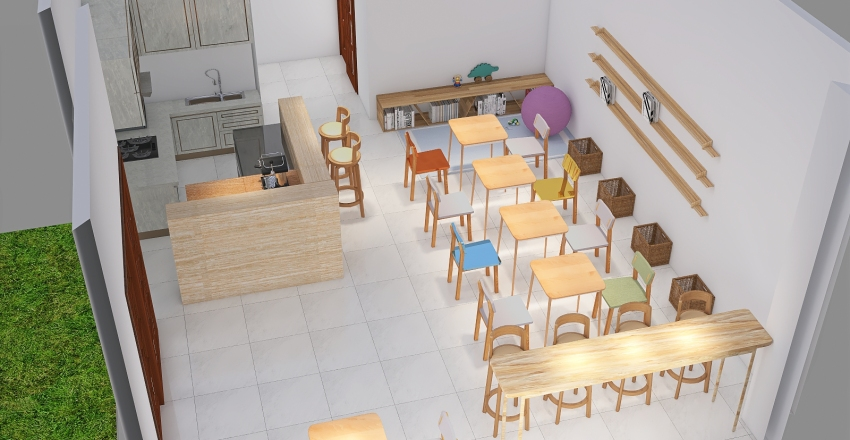 The Lion's Eyes Books and Tea Room Interior Design Render