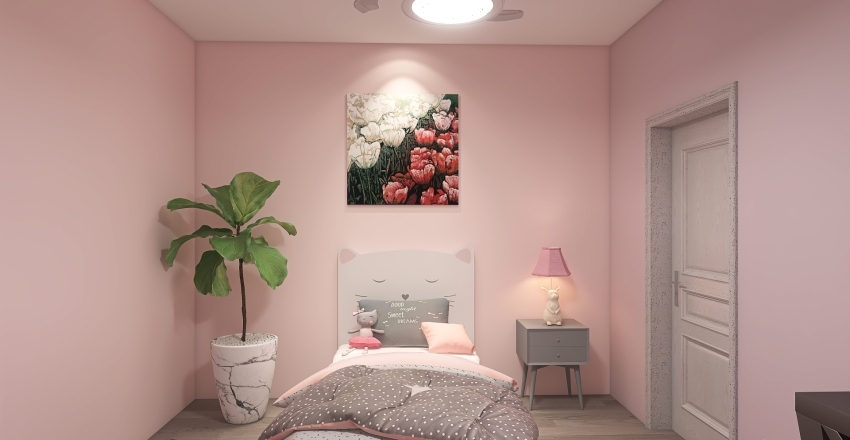 Pink Kids Bedroom Interior Design Render