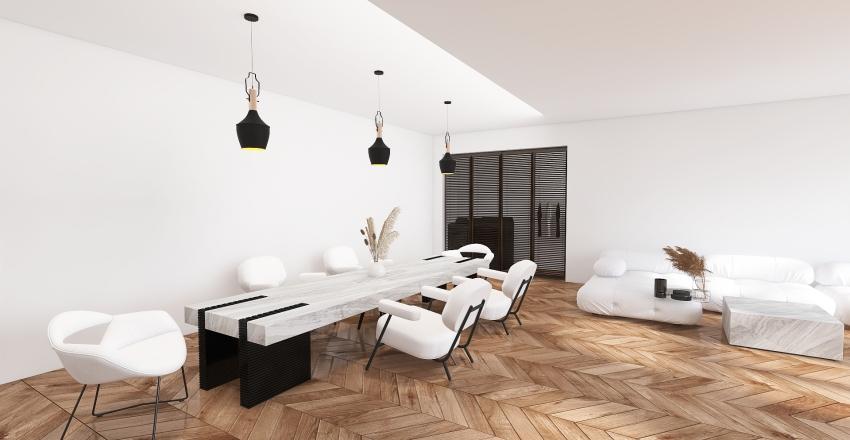White minimalist apartment Interior Design Render