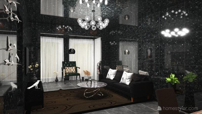 white Bird in Black sky Interior Design Render