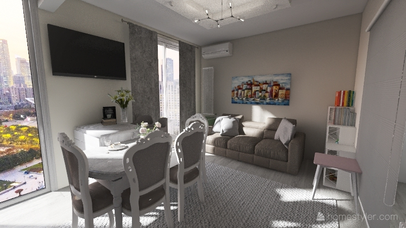 Copy of kitchen marble grey and white Interior Design Render