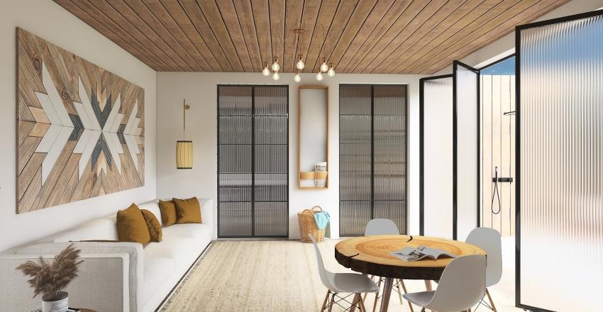 Beach Container Home Interior Design Render