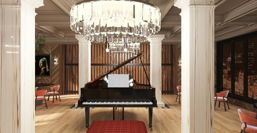 Luxury city hotel restaurant Interior Design Render